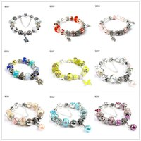 Wholesale Glass Butterfly Beads - Snowflake butterfly Tibetan silver glass beads Charm Bracelet,fashion women's DIY European Beads bracelet 6 pieces a lot mixed style GTPDB28