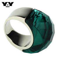 Wholesale clear stone rings resale online - Newest size to Exaggerated Big crystal Rings in clear green color hand made polishing luxury L Stainless steel ring for women