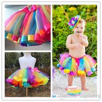 Wholesale Rainbow Baby Costume - DHL Girls Mixed Rainbow Color Satin Trimed Gauze Ballet Dance Petticoat Kids Tutu Skirts Baby Ribbon Birthday Party Halloween Costume E1125