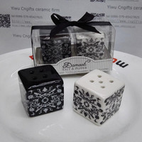 Wholesale Pepper Supplies - wedding gifts for guest Damask Ceramic Salt and Pepper Shakers china party supplies 200pcs(100sets) wholesale free shipping