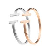 pulseiras de jóias venda por atacado-Moda Jóias Rose Banhado A Ouro Ajustável Pulsera Metal Cuff Double T Em Forma de Pulseira Pulseiras Abrir Cruz Charm Bracelet Para Mulheres Ou Homens