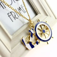 Wholesale Texture Resin - Necklaces & Pendants For Women 2016 New Jewelry Fashion Texture Blue Navy Style Anchor Exaggerated Personality Pendant Statement Necklace