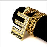 18k altın dolu göz takı toptan satış-Hip hop Kaya 24 k altın kaplama Büyük E EMINEM mektup Char CZ kristal Dolgulu Kristal Buzlu Out Kolye Kolye Punk Rapçi Kolye takı