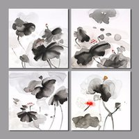 Wholesale Chinese Ink Paintings Lotus - Retro Chinese Style Black and White Red Lotus Flower Decoration Ink Wall Art Pictures Canvas Painting For Living Room Unframed