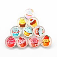 Wholesale Wholesale Cupcake Charm - 18mm ginger button snap pendant bracelet charms diy snap jewelry New 50pcs lot Mix Random Glass Cupcake snaps button