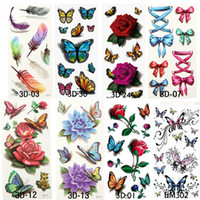 Wholesale makeup for legs resale online - 8 styles Temporary Tattoos For Man Woman Waterproof Stickers Metallic Makeup D Bowknot Flower Tattoos Flash Body Art