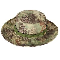 Wholesale Tactical Bucket Hats - Airsoft Sniper Camouflage Nude Bucket Hats, Tactical Boonie Hats outdoor topee army Mens Fishing hat, One Size for 56-62