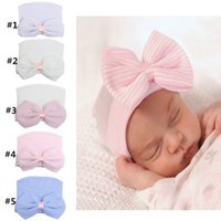 Wholesale 5colors Newborn baby beanie with big bow girl and boy Baby Cotton crochet Hat Boys Hospital Cap Toddler Soft Knit Hat Accessories XM008