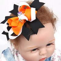 Wholesale Baby Girls Hair Clip - Baby Girls Halloween Hair Clips Infant 4.5 Inch Ribbon Bows Flower with Clips Childrens Hair Accessories Baby Boutique Bow Hairpins
