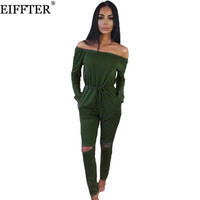 Wholesale Ladies Animal Print Jumpsuits - Wholesale- EIFFTER Women Jumpsuits Rompers New Casual Ladies Strapless Off The Shoulder Long Sleeve Beach Loose Bodycon Jumpsuits 0090
