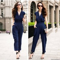 Wholesale Red Overalls For Women - High-end Women Jumpsuit and Romper Pure Color Cross Collar Slim Waist Loose Jumpsuits Overall leotards for Women