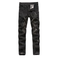 Wholesale Cotton Trouser Fabric - New men's jeans Pomo denim fabric Beggar Hole trousers Zipper decoration pants