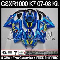 Wholesale Suzuki Gsxr K7 - Glossy blue 8gifts Body For SUZUKI GSXR1000 07 08 GSX-R1000 11HM1 GSX R1000 K7 07-08 GSXR-1000 GSXR 1000 2007 2008 Fairing Kit RIZLA blue