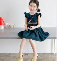 Wholesale Korean Spring Tunics - Korean Summer Girls Dresses Pleated Sleeve Woven Waist Tunic Childs Dresses Kids Girl Party Dress Blue Yellow K7387