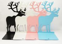 Wholesale Bookend Christmas Gift Thicken Creative Stationery Cartoon Elk Quality Steel Metal Book Organizer Shelf Desktop Decor rk F R