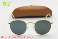 Wholesale dark blue goggles online - 1pcs High Quality Fashion Round Sunglasses Mens Womens Designer Brand Sun Glasses Gold Metal Black Dark mm Glass Lenses Better Brown Case
