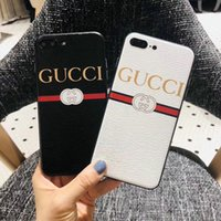 Wholesale Mobile Cover Back Paintings - Luxury branded painted leather mobile phone case for iphone X 6plus 7 7plus TPU + PC hard back cover for iphone 8 8plus