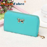 Wholesale Cute Cheap Leather Purses - Wholesale-New brand cartera billetera mujer 2015 cheap Women Korean Cute Bowknot Purse Solid Long Leather Wallet Handbag