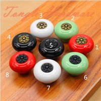 Wholesale Ceramic Pulls For Cabinets - Red White Green Black Ancient bronze carving ceramic single door knob handle pull for cabinet kitchen drawer furniture pull#20