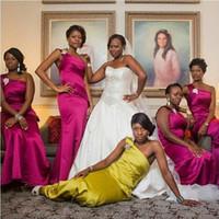 UK wedding dress line sheath - Free Shipping! One Shoulder Sheath Bridesmaid Dresses Long Satin Pleat Brides Maid Party Dress For Wedding Vestidos de Festa Long