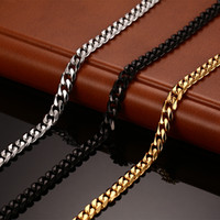 Wholesale Gold Wide Chain - New Fashion Chain Necklace 24 30 inch For Men Women Long Necklace 3 5 7MM Wide Titanium Steel Link Chain Men Necklaces