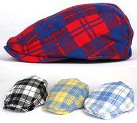 Wholesale Boys Derby Hats - Cheap Kids Boys Girls Baby checked Flat Cap Newsboy Baker Boy Cabbie Beret Gatsby Hats free shipping