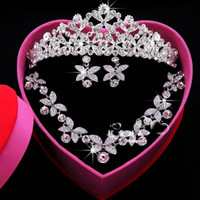 Wholesale Headdress Necklace - New Shinny Luxury Bridal Jewelry Sets Crystal Wedding Crown Earrings Necklace Tiaras Accessories Fashion Headdress Bridal Accessories