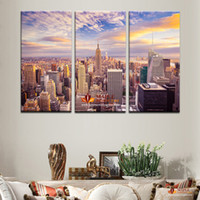 Wholesale canvas wall art new york - 3 Pieces New York City picture canvas painting Modern wall art picture for living room decorative city landscape canvas picture