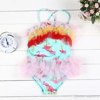 Wholesale Gauze Swimsuits - 2016 summer children swimsuit girls colorful lace gauze suspender One-Pieces kids flamingos printed swimwear girls beach swimsuit E1127