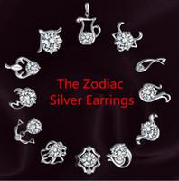 Wholesale Crystal Stud Earrings Men - The Zodiac silver earrings natural crystal wholesale fashion small sterling silver jewelry for women stud men or women earings