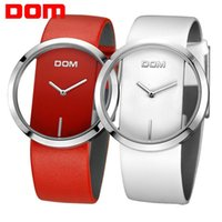 Wholesale Dom Watches - DOM lovers couple luxury brand waterproof style leather watches fashion 2016 quartz watch LP-205