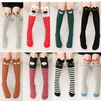 3t ropa al por mayor-Los calcetines de los niños lindos de la historieta imprimen el algodón animal Los calcetines de los niños del bebé calzan los calcetines largos largos del zorro para la muchacha del niño Accesorios de la ropa