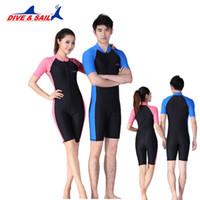 Wholesale Wetsuit Shorts L - Lycra Wetsuit Stinger Wet Suits Diving Skin For Men Or Women One-piece Short Sleeve Jump Suit Swimsuit Swimwear Beach Clothes