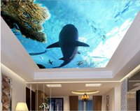 Wholesale 3d ceiling stickers - 3d wallpaper custom photo non-woven mural wall sticker 3 d Oceanic sharks coral ceiling mural painting 3d wall room murals wallpaper
