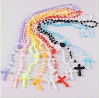 Wholesale Rosary Necklace Plastic - Free shipping! 10pcs Factory wholesale price Bright in dark white Hot Cross Rosary Plastic Necklace