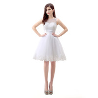 Wholesale Pink Home Coming Dresses - 2016 New Arrived Sexy Scoop Lace Appliques Pearls A Line Knee Length Mini Home Coming Dresses Cocktail Party Dresses For Women