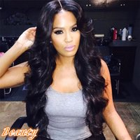 Wholesale Classic Indian Wave - Classic Good Look Body Wave Full Lace Human Hair Wig 7A Brazilian Hair Glueless Lace Front Wig Black Color Fast Shipping