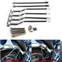 soportes yamaha al por mayor-Bolsa de sillín Soportes Barras Soportes para Harley Honda Suzuki Yamaha Kawasaki Triumph