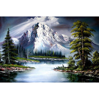 Wholesale Mountain Decoration - Snow Mountain Scenery 100% Full Drill Diamond Painting 5D Diamond Mosaic Cross Stitch Embroidery Home Decor Handmade(Free Shipping)