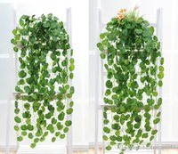 Wholesale Wholesale Silk Foliage - Artificial Silk Green Plants Hanging Scindapsus lvy Foliage Garland Flowers Plants Home and Garden Decorations Wedding Supplier High Quality