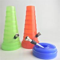 ingrosso tubo di metallo verde-Mini Bong di rintracciamento pieghevole Bong Tubi di plastica da 1,3 a 8 pollici Bong Green Red Blue Oil 3 pezzi Smontare tubo di metallo