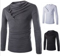 Wholesale Long Sleeve Piles Collar - Brand New Design Men casual polo Tshirts Hot fashion men's T-shirts long sleeve pile collar cotton T-shirts men's tops casual T-shirts