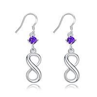 Wholesale Hoot Girls - Women Girl Party Ear Hoot 925 Sterling Silver Plated Wedding Jewelry Gift shiny zircon Pendant 8 Shaped Dangle earring Pruple Gemstone