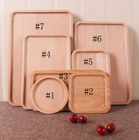 Wholesale Pizza Plates - Wooden Tray Rectangle Beech Wood Fruit Cake Tea Western Dinner Plate Pizza Real Wood Plate Factory Customization Free shipping DHL
