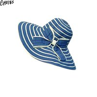 Wholesale Embellished Hats - Wholesale-Women 3 Colors Stripe Pattern Bow Embellished Casual Floppy Sun Hats 2016 New Fashion Summer Beach Vacation Hat Bief Cute Cap