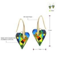 Wholesale Neoglory Swarovski - Neoglory MADE WITH SWAROVSKI ELEMENTS Crystal Gold Plated Colorful Heart Drop Earrings For Female 2015 New Brand Fashion JS9 HE1