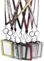 Wholesale Badge Chain Necklace - Pendant Necklaces 10pcs Each color Luxury Bling Lanyard Crystal Rhinestone in neck with clasp ID Pass Card Badge Key Holder choose colors