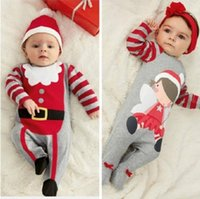 Wholesale Christmas Jumpsuits - hot sale babies rompers Xmas Santa Claus Toddler Baby Boy Girl Jumpsuit+Hat Headband Outfits christmas perfect gift for girls Sets wholesale