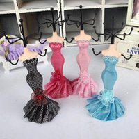 Wholesale Wholesale Doll Mannequin Jewelry Stand - Dot Dress Mannequin Doll Rack holder Necklace Earring Ring Organizer Jewelry Display Stand Wedding Decorations Favours