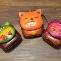 Wholesale Hand Made Leather Purses - Wholesale- High Quality Hand Made Birthday Gift Cow Leather Lovely Cartoon Kitty Shape Change Purse Girl Small Cute Cat Coin Purse C002